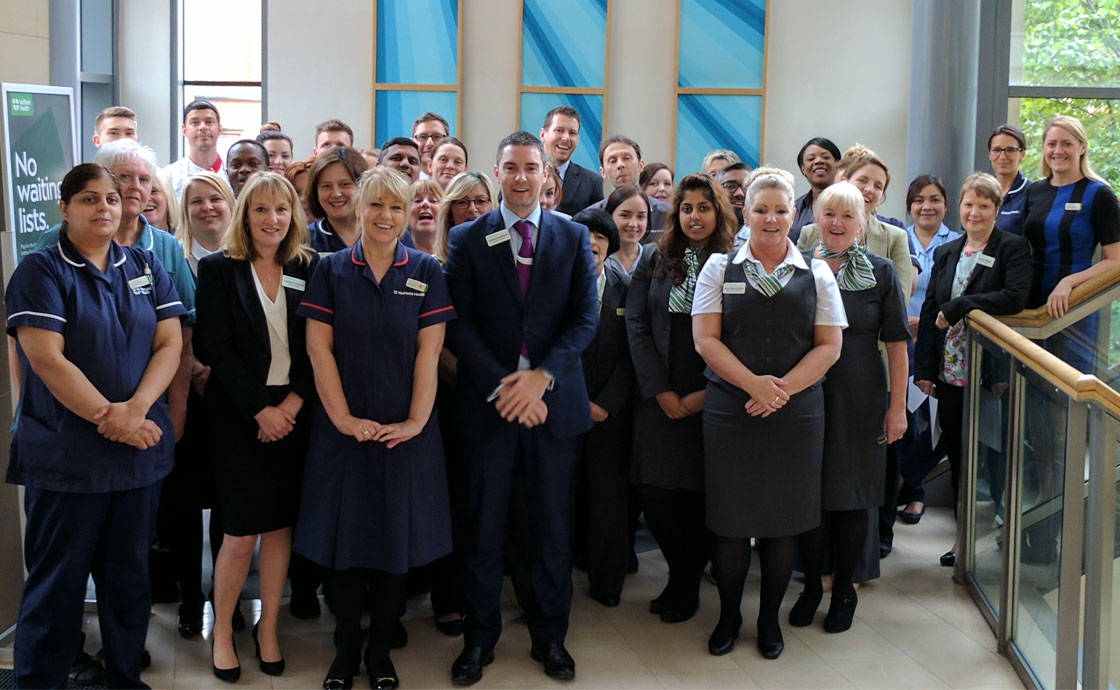 Nuffield Health Leeds Hospital staff celebrate 'Outstanding' CQC rating.