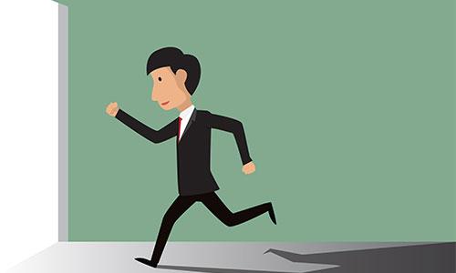 Businessman running through door