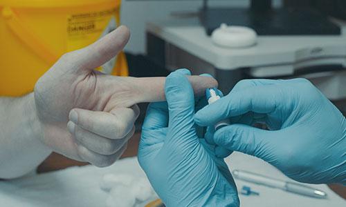 Finger prick blood test for cholesterol