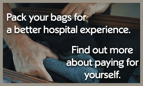 Man packing a bag for hospital. Click here to find out more about paying for yourself.
