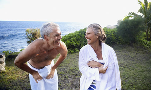 Ageing couple near the beach