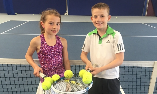 Sam and Millie at the Hull tennis academy