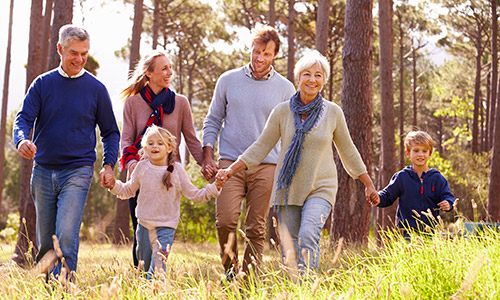 Inter-generational family walking through golden fields holding hands and smiling
