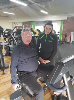 Nuffield Health Leeds Hospital spinal reconstruction patient John Cummings having rehab at Nuffield Health Guiseley Fitness & Wellbeing Gym