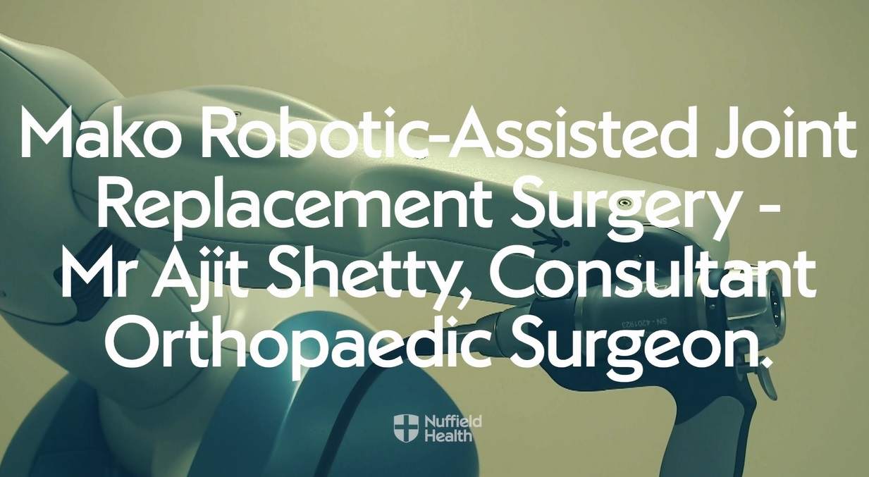 Mr Shetty talking about robot-assisted joint replacement surgery