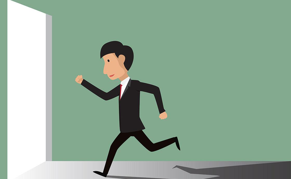 Businessman running for door_l