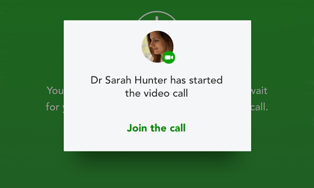 Screen grab of Video Appointments app.