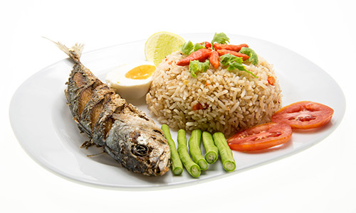 Grilled Mackerel and wholemeal rice