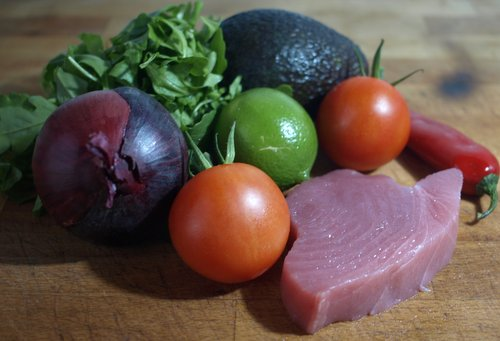 Seared tuna ingredients