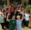 The hospital team celebrating