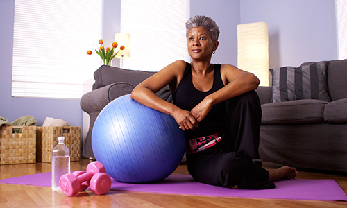 Woman enjoying yoga at home