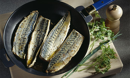 Mackerel in frying pan