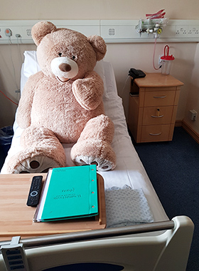 Nuffy Bear in hospital bed in Oxford