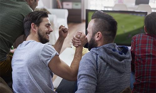 Men watchcing sport