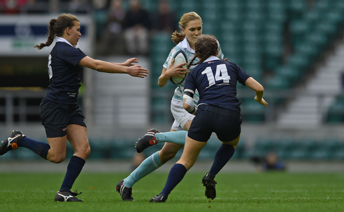 Alice Middleton in her historic Oxford v Cambridge varsity match at Twickenham