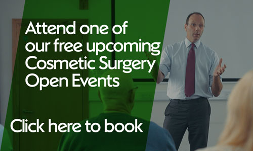 Text overlaid on man giving presentation: attend one of our free upcoming cosmetic surgery open events