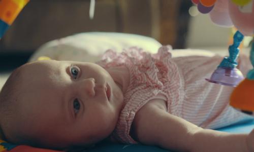 Baby Devon on her playmat